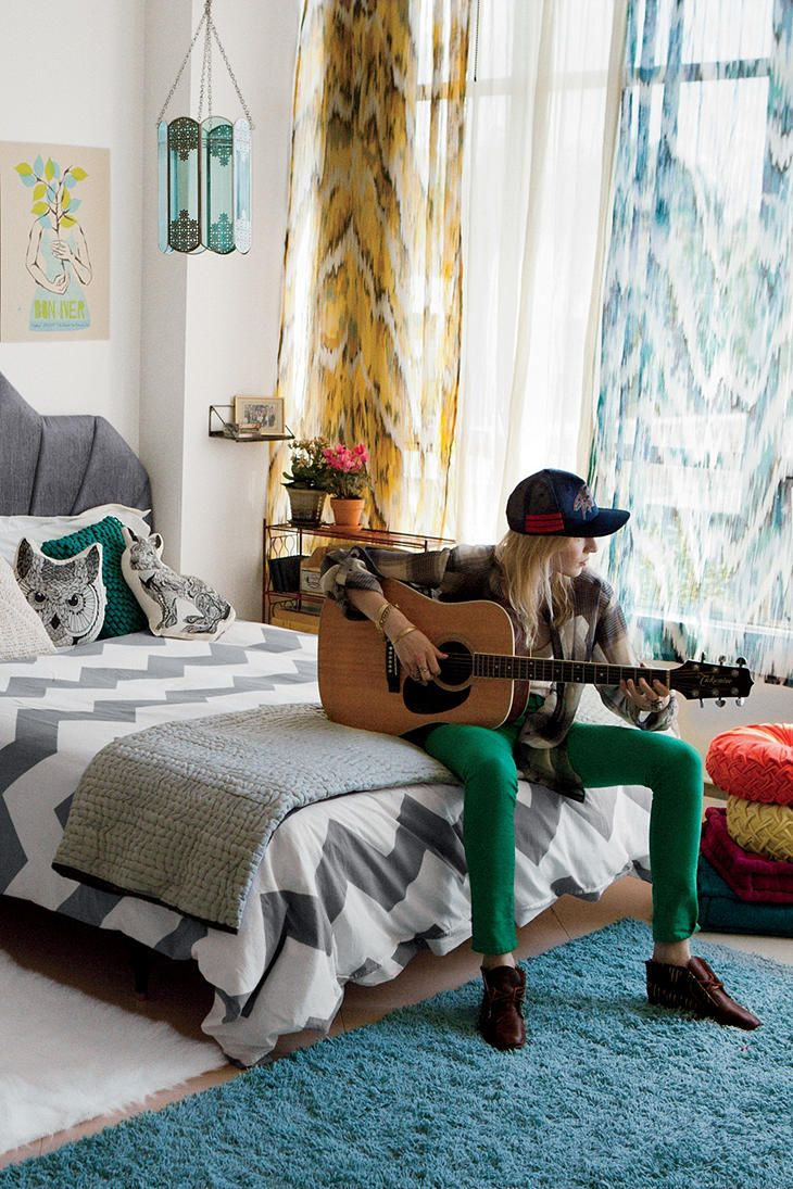 Master bedroom goals  Love the mix of textures and patterns here Guitarist optional