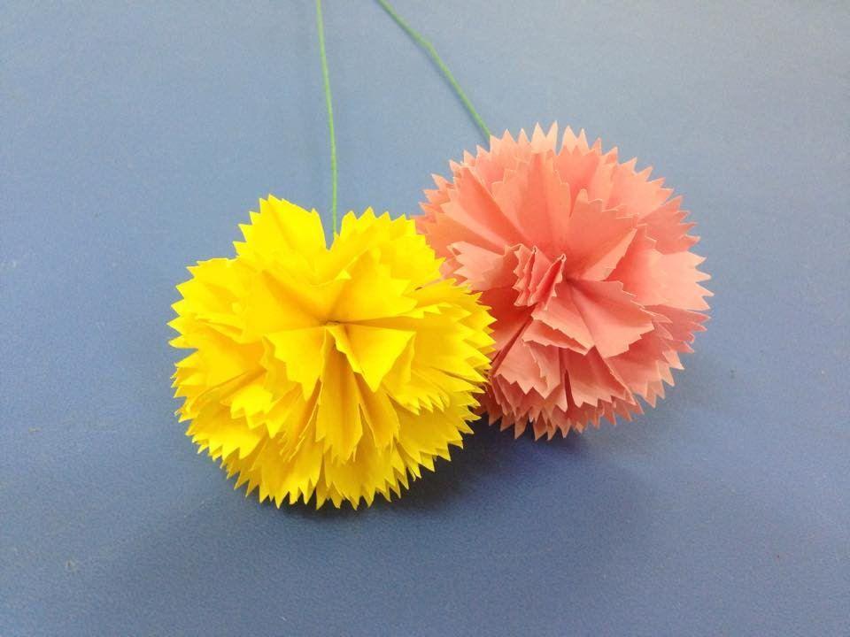 How To Make Carnation Paper Flower Easy Origami Flowers For Beginners Easy Origami Flower Paper Flowers Origami Flowers