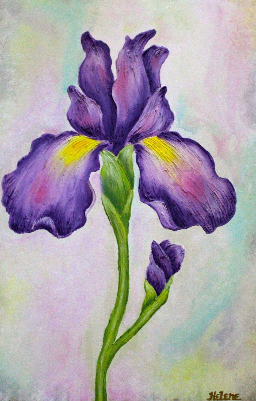 255 x 375 original painting large purple and yellow flower original painting helene ocko 255 x 375 po acrylique sur toile violet jaune rose vert et or encadres et prt accrocher cadre inclus ce izmirmasajfo