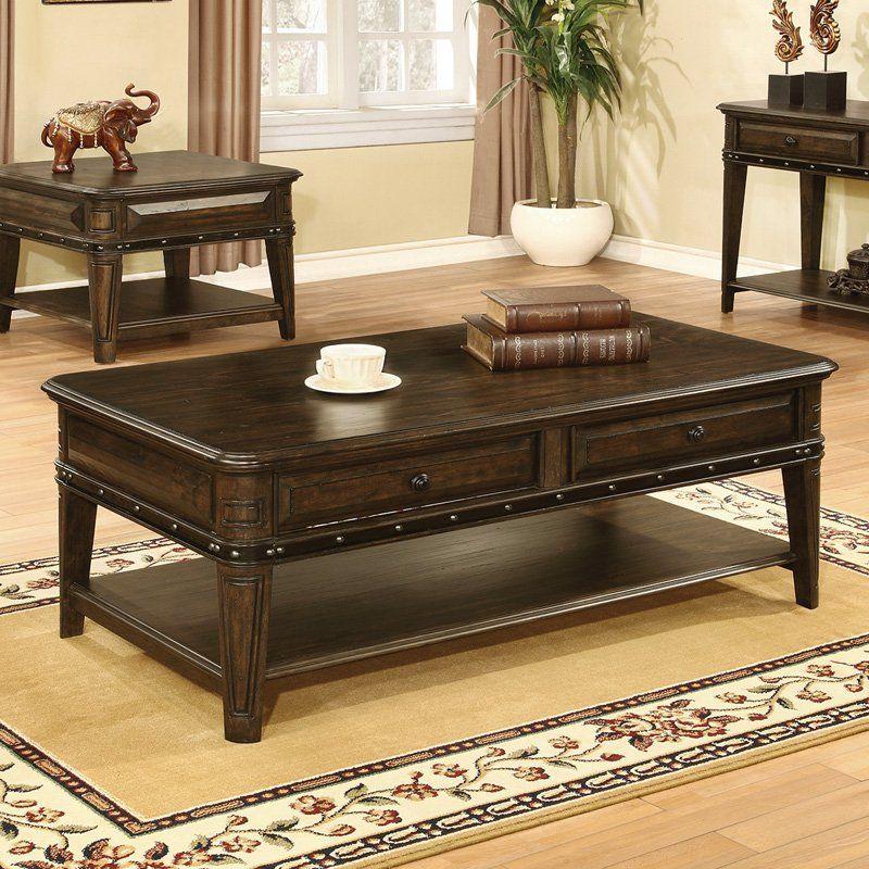 Coaster furniture espresso wood coffee table 704258