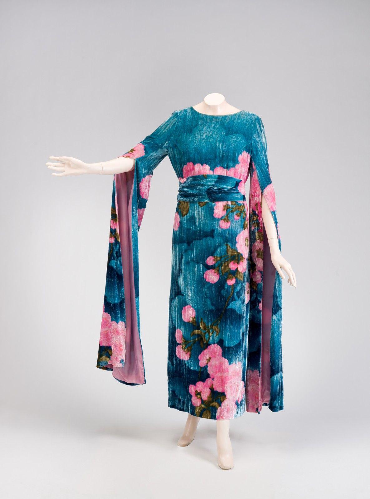 hanae mori silk velvet dress japan 1973 hanae mori