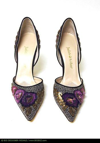 NWOT JUDITH LEIBER Silver/Pink/Purple Jeweled Silk D'Orsay Pumps Shoes 7B | eBay