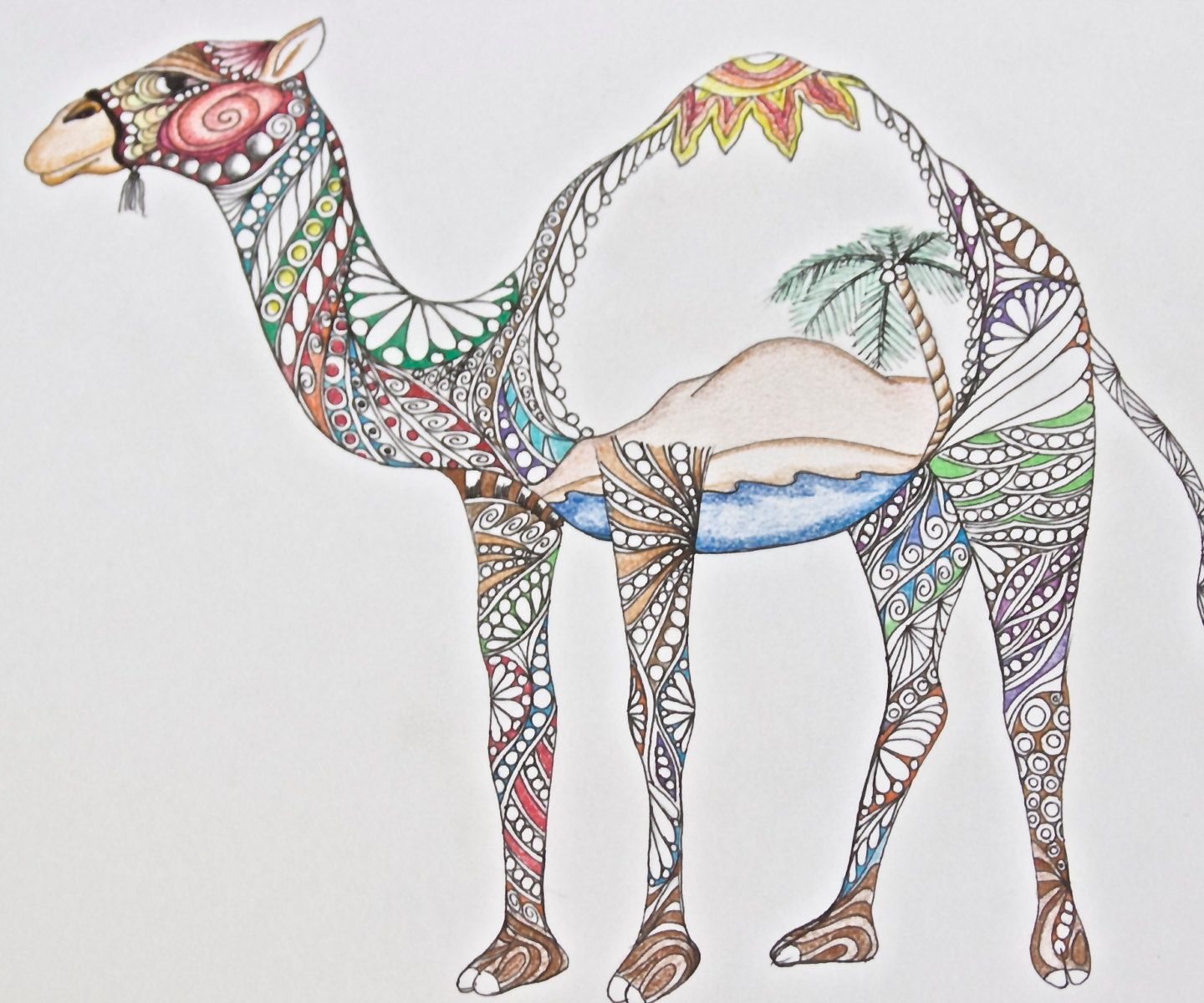 zentangle camel colored camel ink colored by thetranquilfrog 我