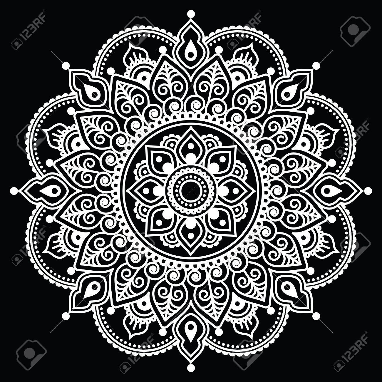 mehndi indischen henna tattoo wei muster auf schwarzem. Black Bedroom Furniture Sets. Home Design Ideas