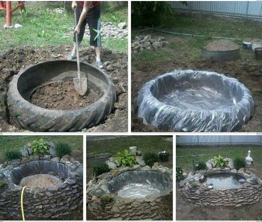 Pond Garden Tractor: Make A Great Pond Out Of A Tractor Tire :)