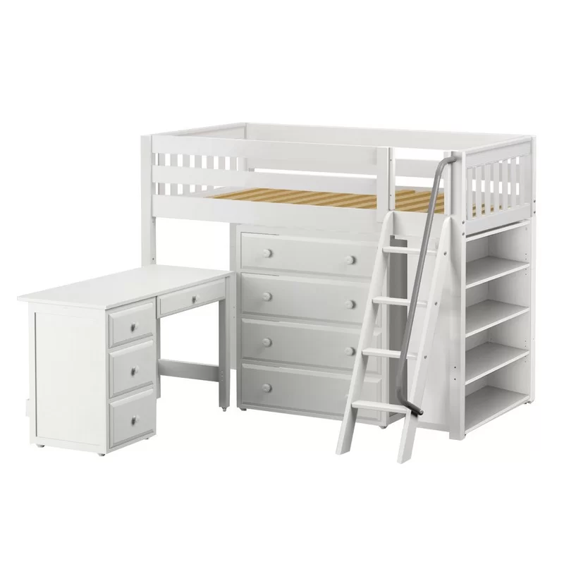 Spinella Low Loft Bed with Drawers and Bookcase Low loft