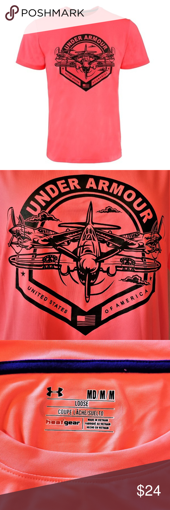 UNDER ARMOUR USA Air Force Graphic Tee Jet Neon Graphic