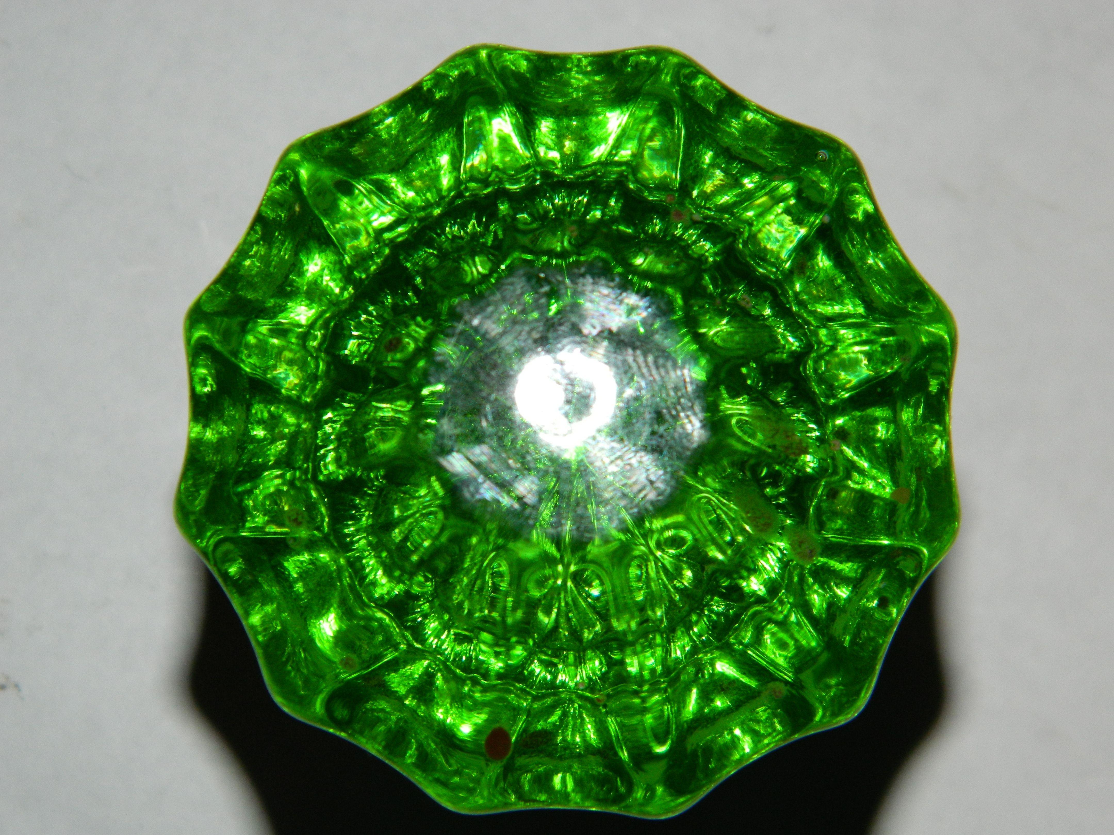 Vintage Green Glass Door Knobs