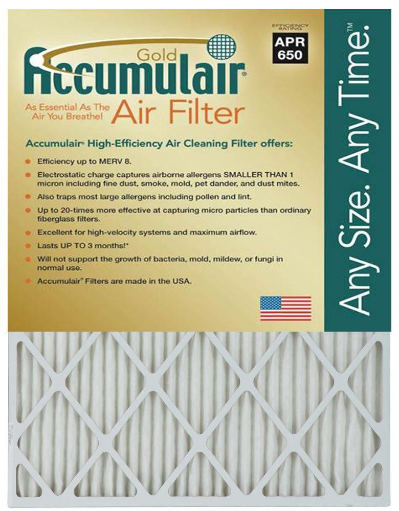 Accumulair Gold 22x24x1 (21.5x23.5) MERV 8 Air Filter