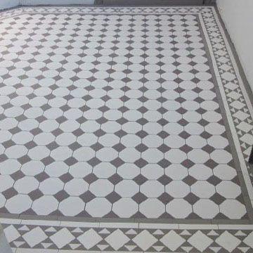 London Mosaic Octagon And Dot Ceramic Tiles Flooring