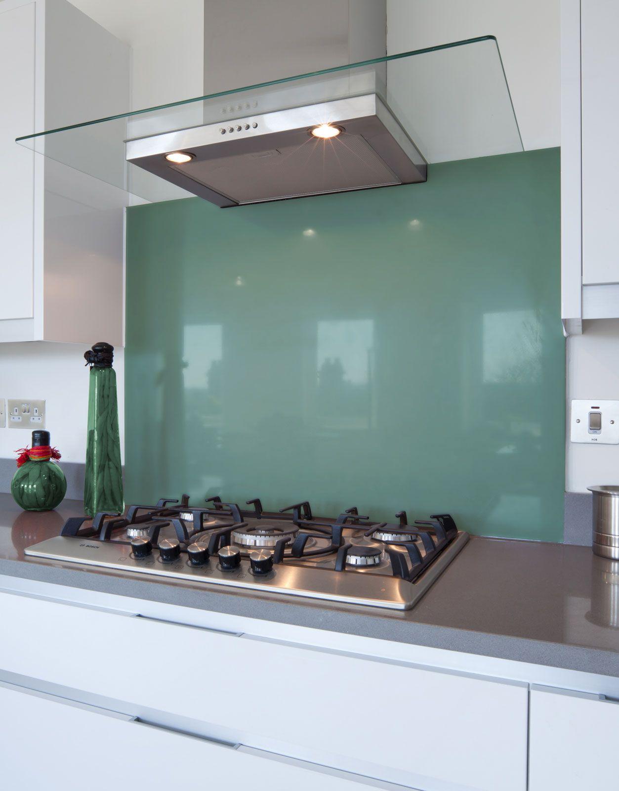 Pastel Turquoise-d Glass Hob Splashback   A&B Kitchen   Pinterest ...