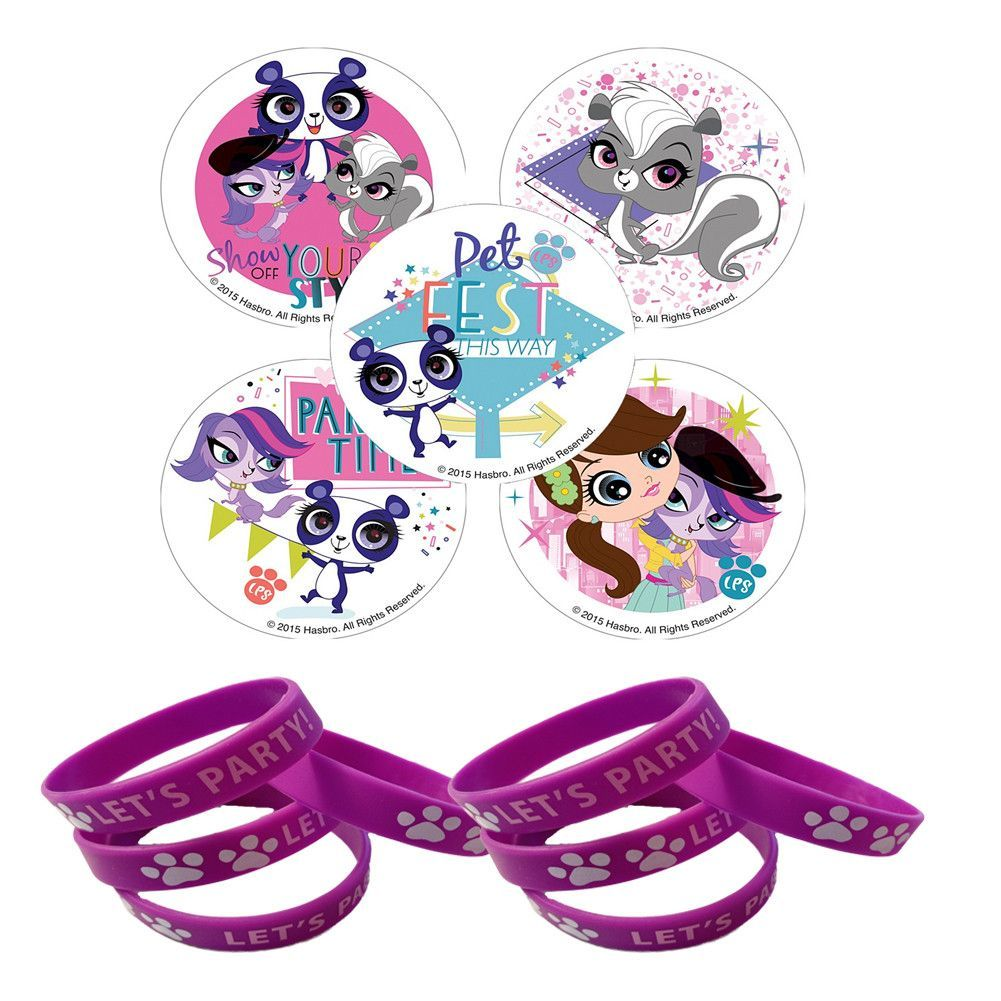 24 Littlest Pet Shop Stickers & 12 Purple Paw Purple Print ...