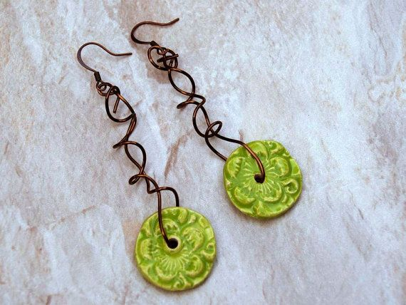Spring Green Flowers Earrings by ShereeDesignsInc on Etsy, $18.00