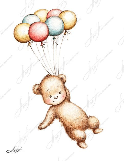 The drawing of teddy bear flying with colorful balloons. Printable ...