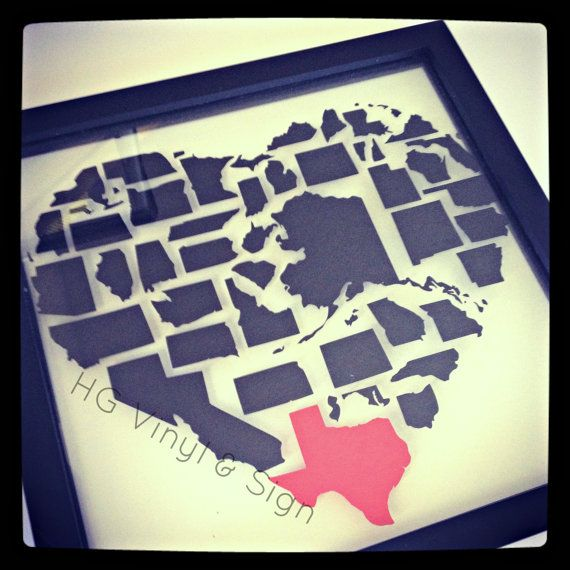 Same Day Shipping 14x14 State Love Floating Frame by ibreathevinyl