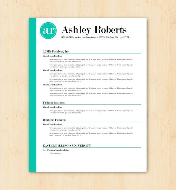 Resume Template / CV Template - The Ashley Roberts Resume Design ...