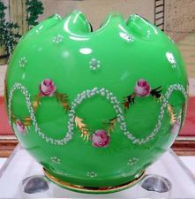 """ANTIQUE CASED GLASS AND ENAMEL GREEN WITH PINK ROSES 4 1/2"""" ROSE BOWL"""