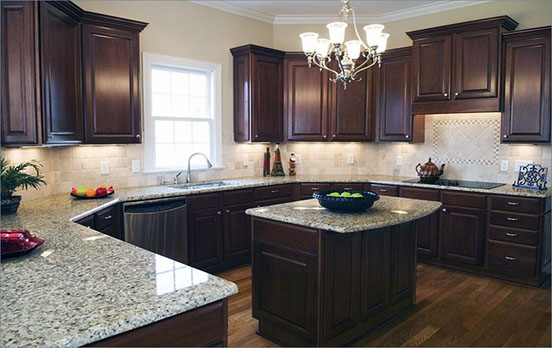 Dark brown granite countertops with white cabinets www for 9x9 kitchen designs