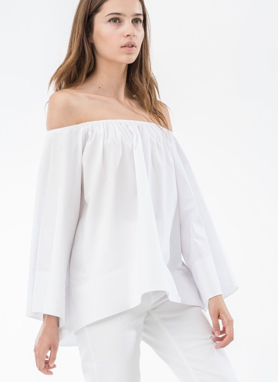 fc3d1778bf7 Bare-shoulder shirt - Shirts and blouses - READY TO WEAR - Uterqüe  Netherlands