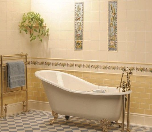 Victorian Bathrooms Decorating Ideas: ... - Victorian Tiles > Original Style Birds And Butterfly Bathroom