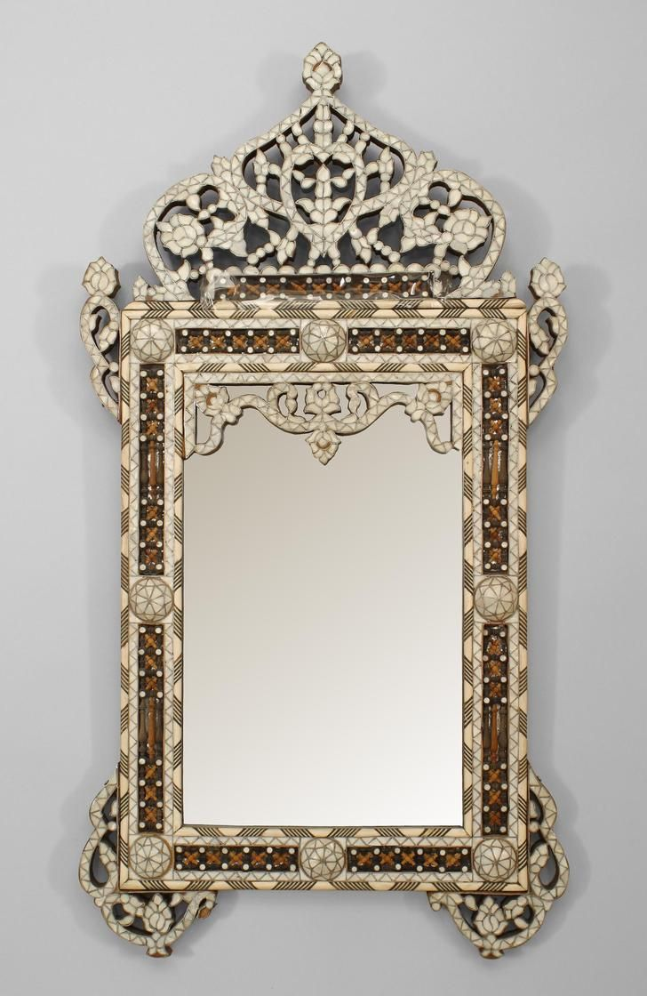 Middle Eastern Syrian (Moorish Style, Cent) Wall Mirror With Inlaid Mother  Of Pearl, Ebony And Bone, With Spindle And Ball Details.