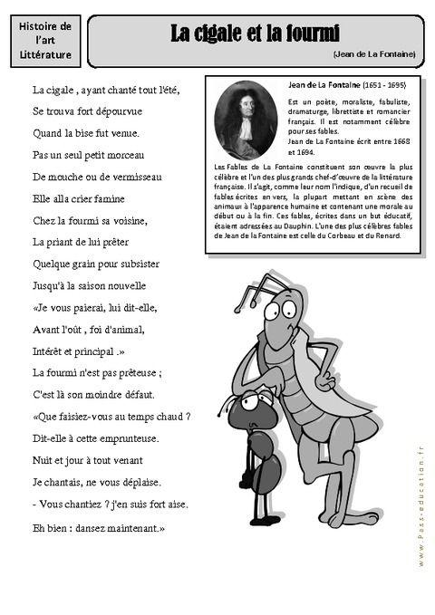 La Cigale Et La Fourmi Jean De La Fontaine Cm1 Cm2