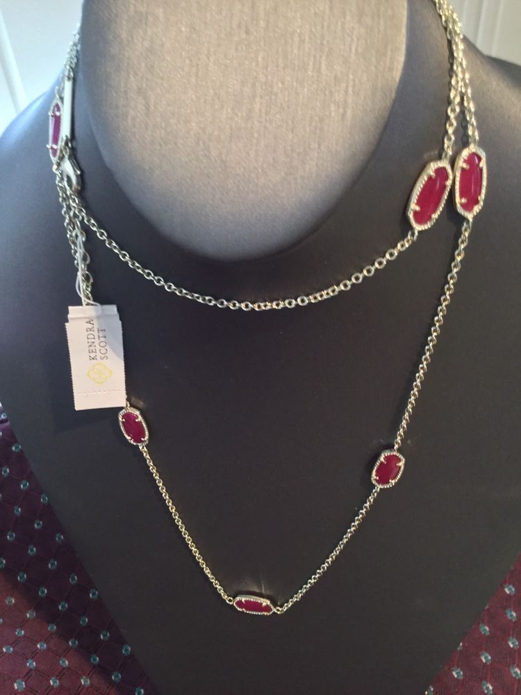Kendra Scott Kelsie Necklace In Maroon Jade & Gold Discontinued Sold out NWOT  | eBay
