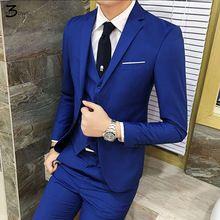 cc1e95feab0 2017 New Men Suits One Buckle Brand Suits Jacket Formal Dress Men Suit Set  Men Wedding Suits Groom Tuxedos (Jacket+Pants+Vest) - Costbuys
