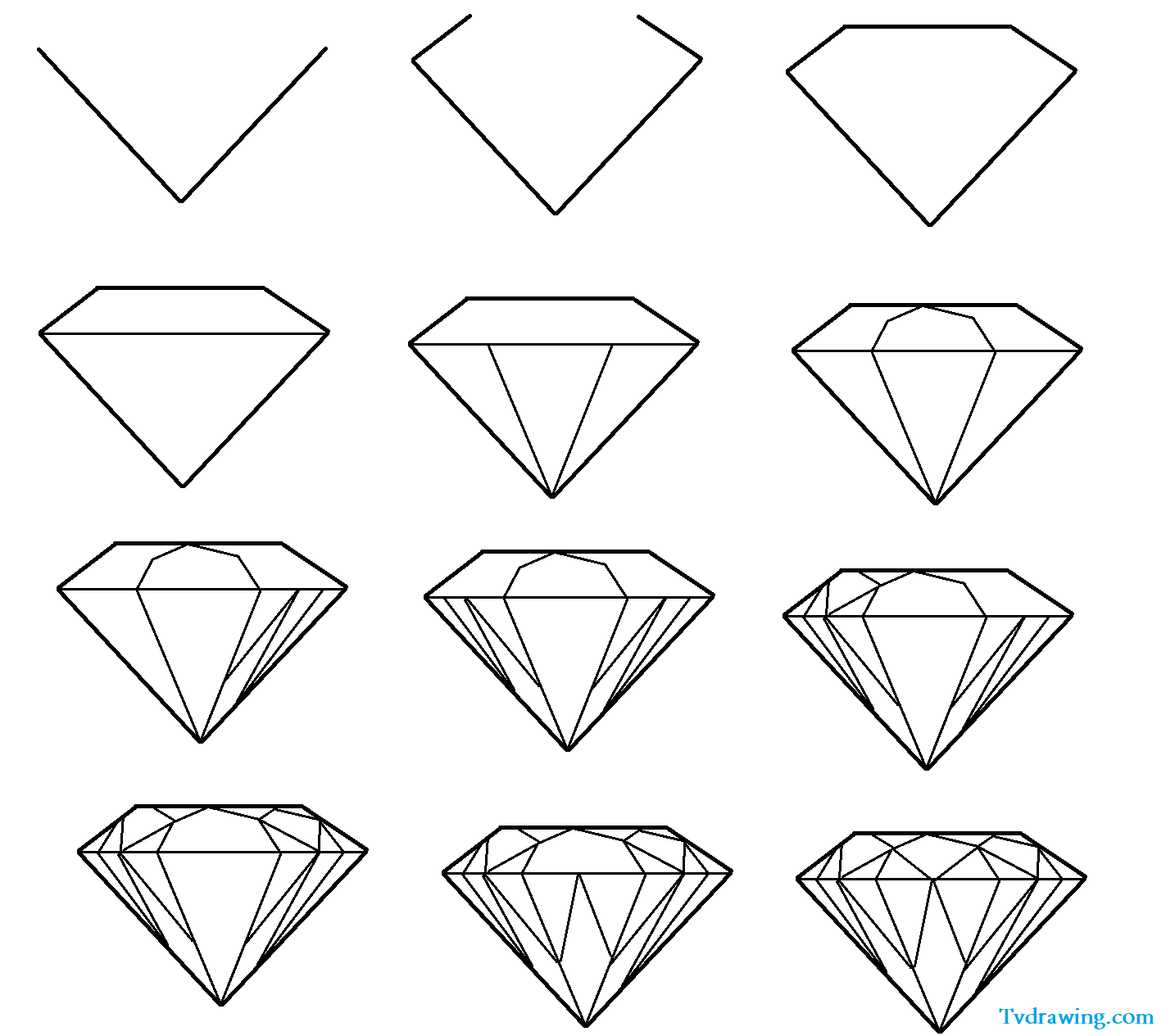 How To Draw A Simple Diamond Gemstone Pattern Easy Free Step By