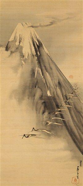 nagasawa rosetsu 長沢蘆雪 1794 Cranes Flying over Mt. Fuji 富士越鶴図
