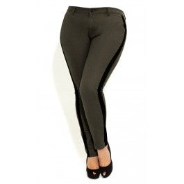 Pull off a sassy and edgy look with our Side Stripe Jeans. Highlighted by a contrasting stripe running down each leg, skinny leg jeans feature a front fly and single button fastening, 2 hip pockets and 2 back pockets. The stretch in the fabric slims the figure while giving firm, confidence-building support exactly where you need it.