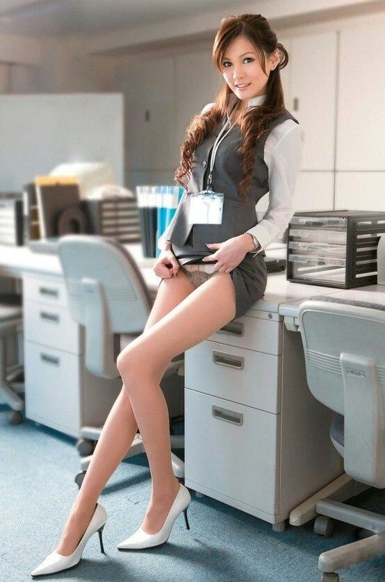 Office sexy skirt up video