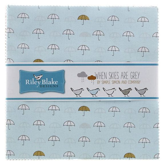 Riley Blake When Skies Are Grey 10 StackersLayer Cake 42 10 x 10 Precut Fabric Squares