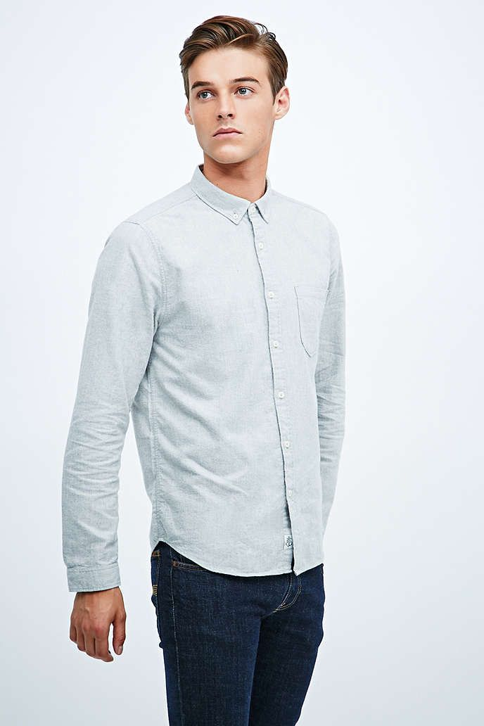 Shore Leave by Urban Outfitters - Grau meliertes Oxford-Hemd - Urban Outfitters