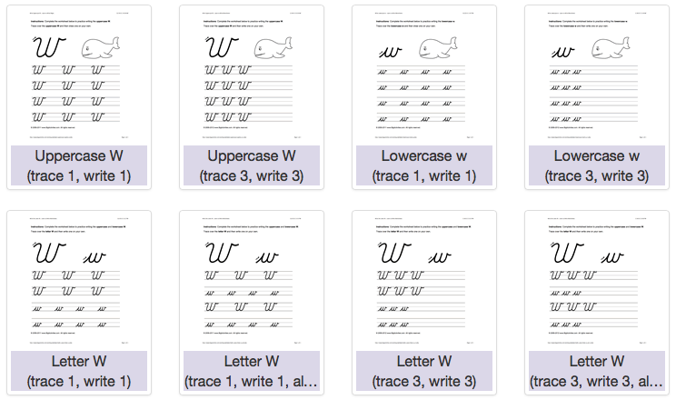 Handwriting Worksheets for kids to practice writing the letter W - uppercase and lowercase