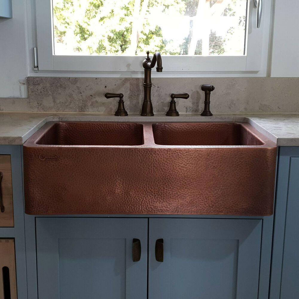 COPPER FARMHOUSE SINK FRONT APRON HAMMERED DOUBLE BOWL