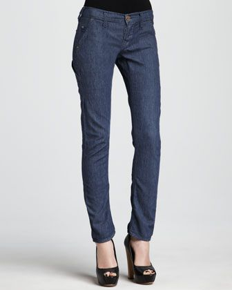 1bb30c5dce4 Stella HW Navy Mid-Rise Patch-Pocket Skinny Jeans by True Religion at Neiman  Marcus.