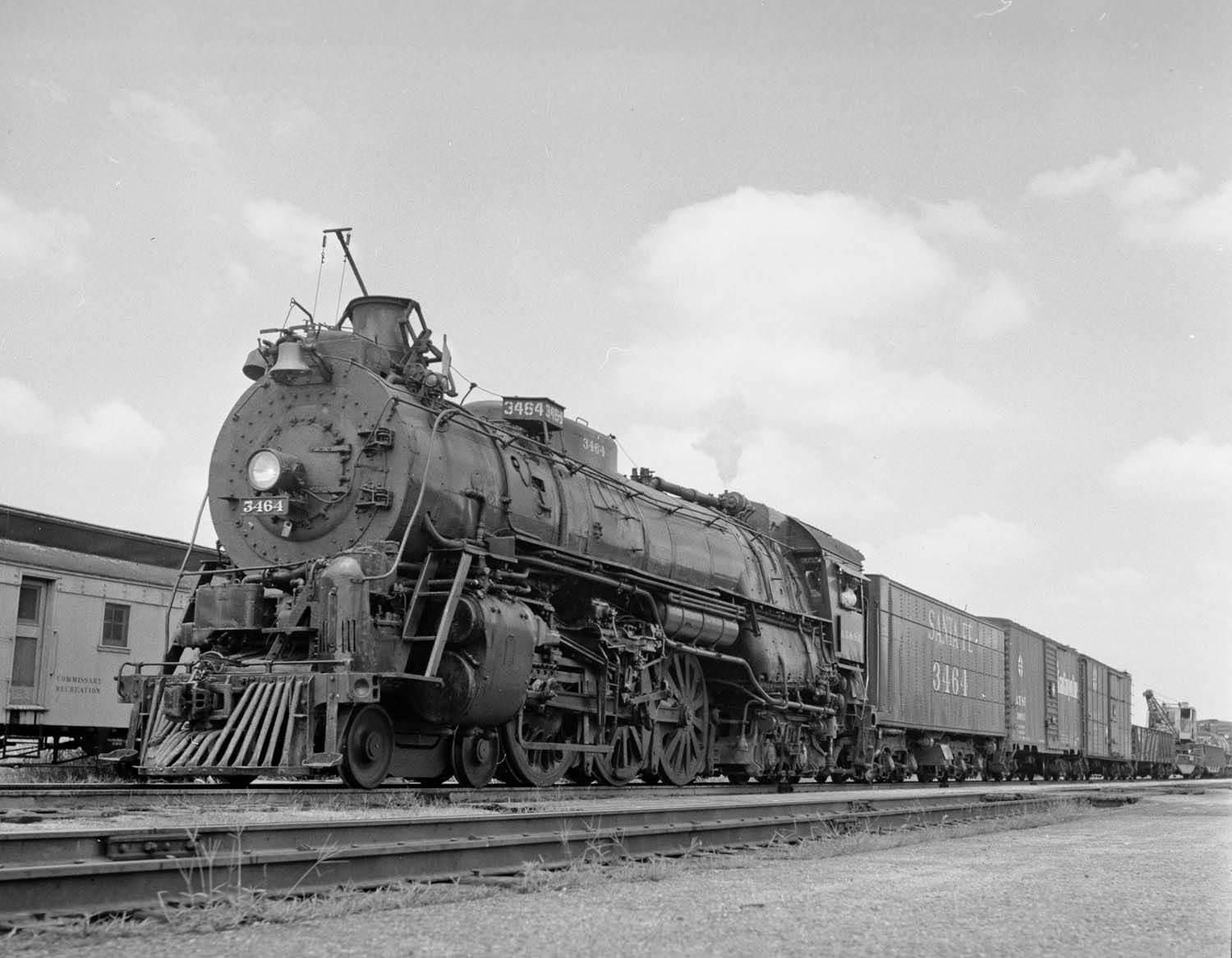 ATSF 3464 leads a work train at Winfield, Kansas in 1953