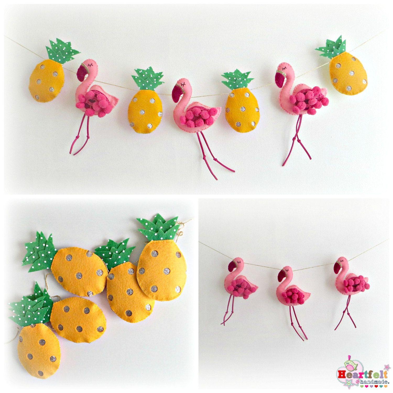 Flamingo et ananas Garland kitsch rétro par heartfelthandmade