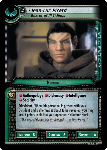 """""""• Jean-Luc Picard, Bearer of Ill Tidings"""" [8 R 91] from the STAR TREK CUSTOMIZABLE CARD GAME 2nd Edition by DECIPHER 