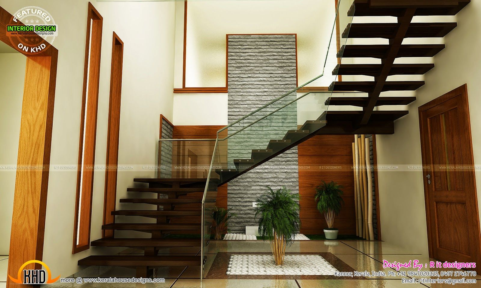 Staircase Bedroom Dining Interiors Kerala Home Design Indian   Stairs Design For Duplex House   Contemporary   Front   Elegant   Rcc   Staircase Design