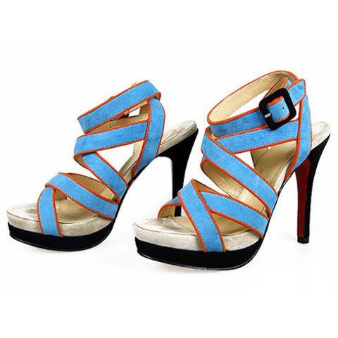 Christian Louboutin,Christian Louboutin Staratata Strappy Platform Sandals Sky Blue-$189