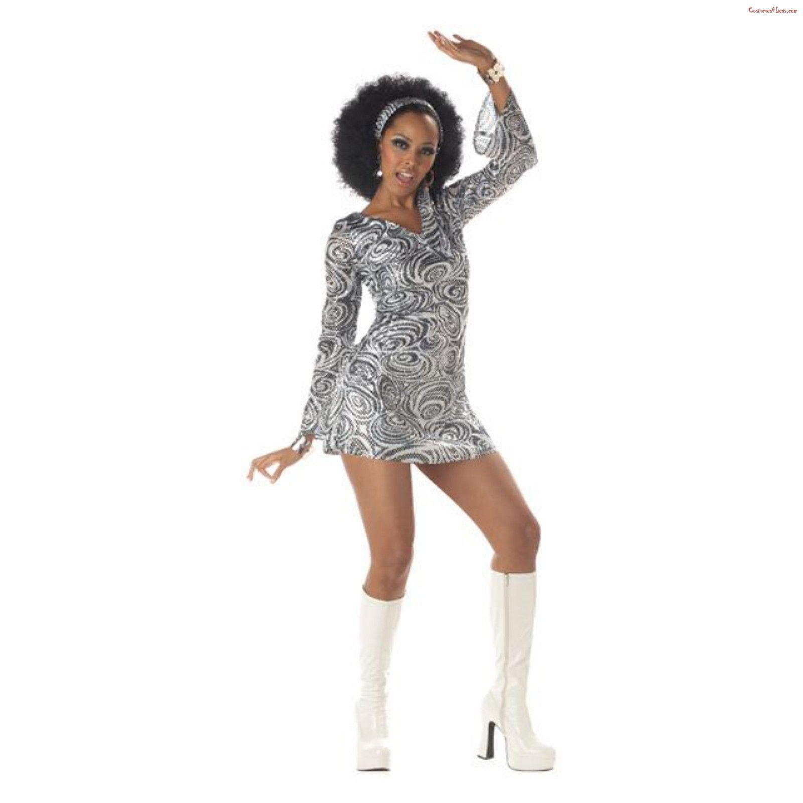 70s Fancy Dress COSTUME SKIRT Hippy Lady DISCO DIVA Womens