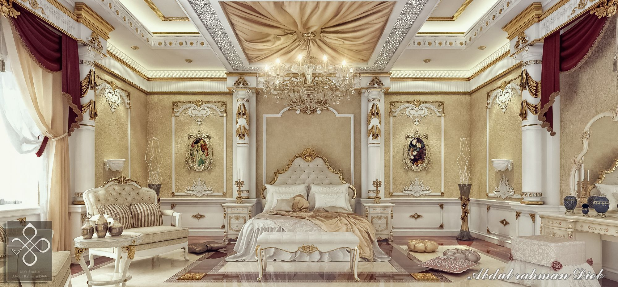 Royal bedroom 3d interiors pinterest royal bedroom for Room interior images