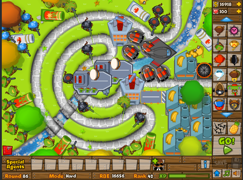 I beat Bloons Tower Defense on hard using only modern-day weaponry