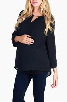 5fc10b128 Black Flowy Maternity Blouse Maternity Tops, Maternity Fashion, Chiffon  Material, Work Attire,