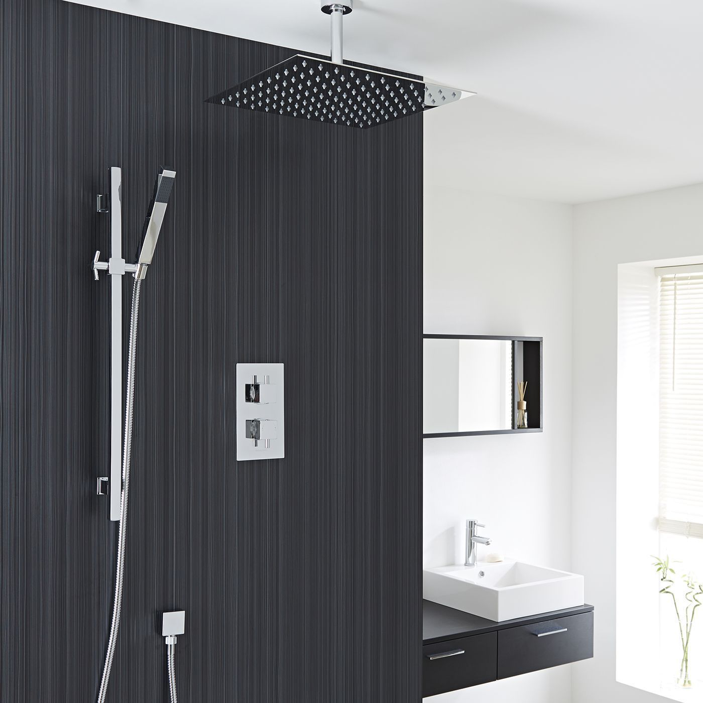 Astbury Twin Concealed Thermostatic Shower With Diverter Square