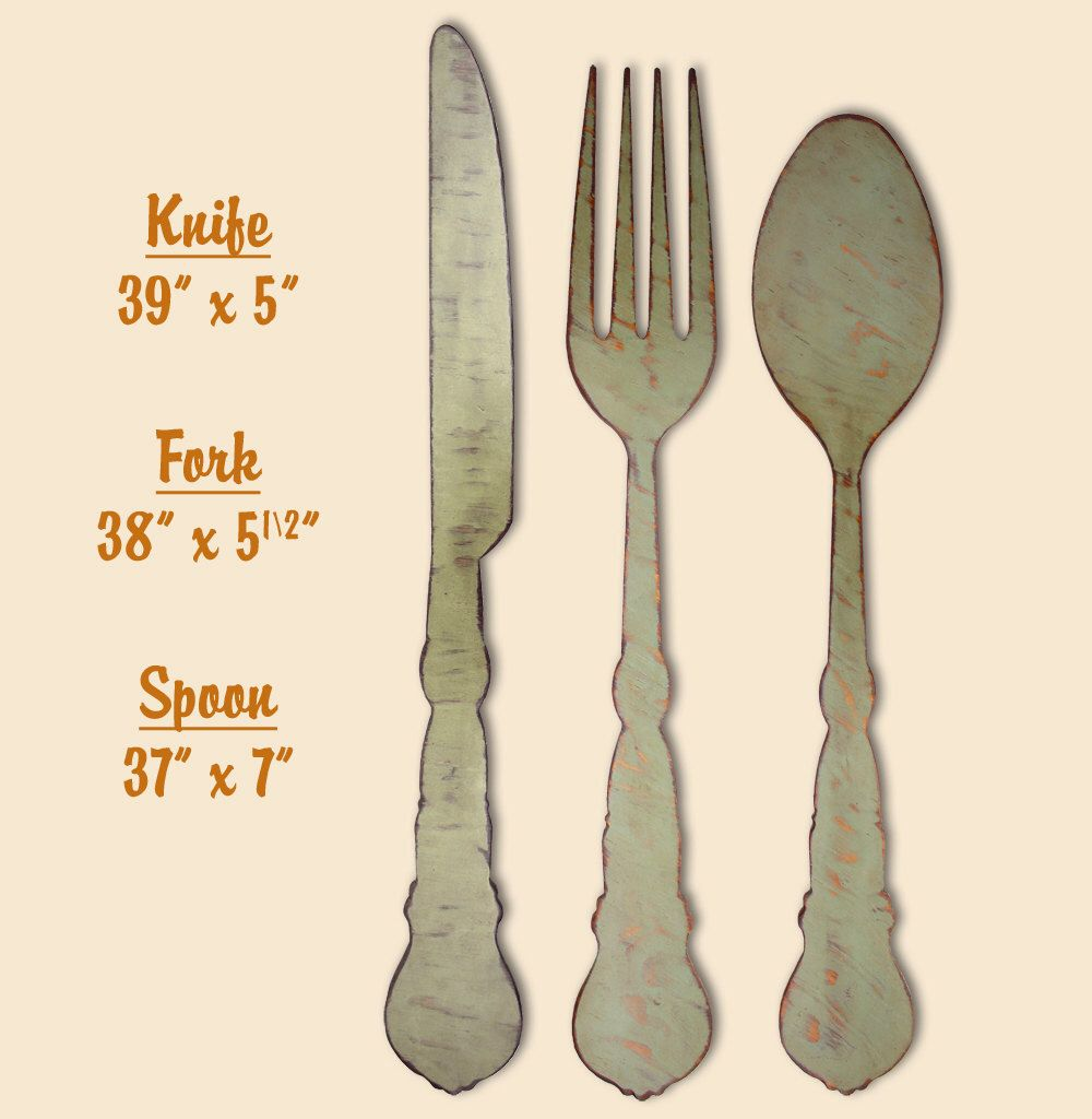 Kitchen Signage Fork Spoon Knife Kitchen Wooden Sign Farmhouse Style Dining Room Sign Farmhouse Sign Decor Giant Spoon Fork Kitchen Decor By Theglitteredpig On