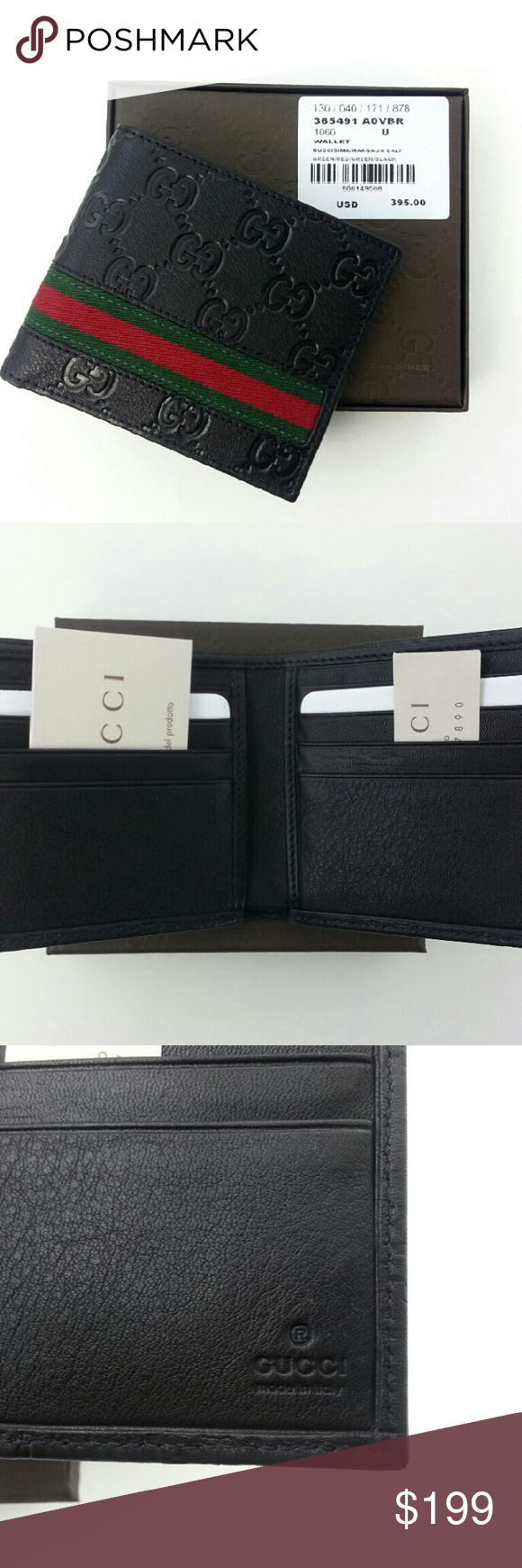 5e20d741fe1 GUCCI original men Black Web strip bi fold wallet GUCCI original men s  Black leather Web Strip