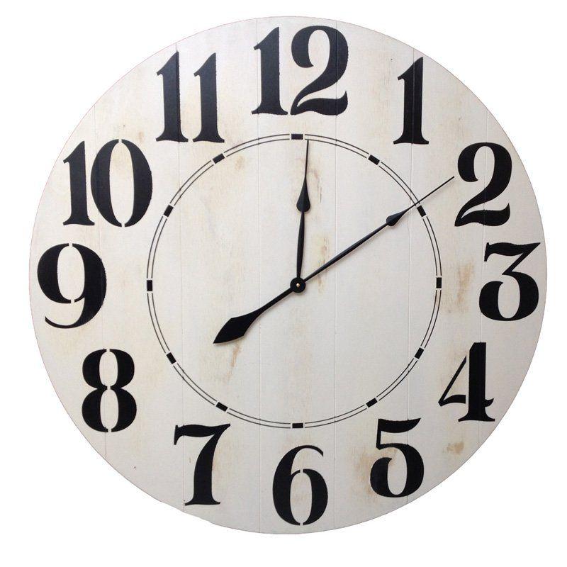 Brandt works farmhouse white oversized wall clock dfh